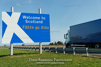 Image - Welcome to Scotland border sign on the A1, truck, lorry