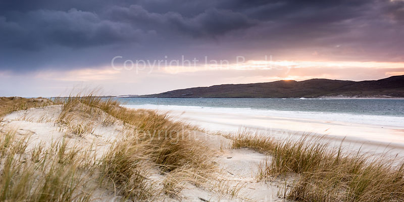 Winter sunset over the dunes on the Isle of Harris