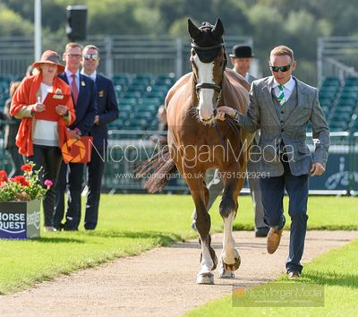 Michael Owen and BRADELEY LAW at the trot up, Land Rover Burghley Horse Trials 2019