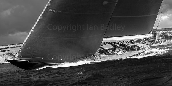 J Class Class yacht Velsheda sails off the Isle of Wight BW