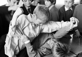 #83798,  Fighting, Whitworth Comprehensive School, Whitworth, Lancashire.  1970.  Shot for the book, 'Family and School, Peng...
