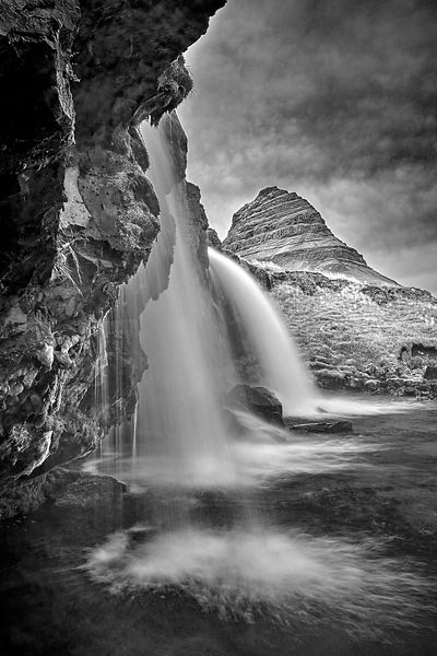 Iceland art for sale | Kikjufellfoss, Iceland (Black and White)