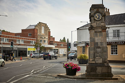 Gatley suburban area of  Cheadle, Stockport, Greater Manchester, England, landmark clock Gatley road and Church rd junction a...