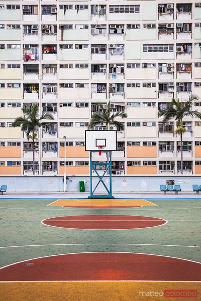 Basketball court in a residential complex, Hong Kong