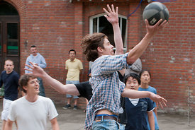 #74577,  An impromptu game of basketball at the reunion for Summerhill School's 90th birthday celebrations.