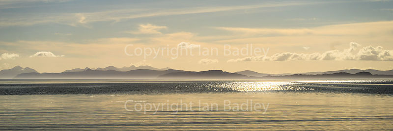 Pastel colour view towards the Isle of Skye