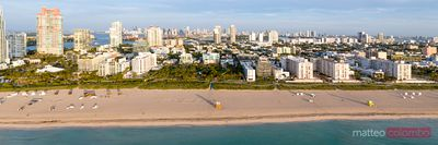 Aerial panorama of South beach at sunrise, Miami, Florida