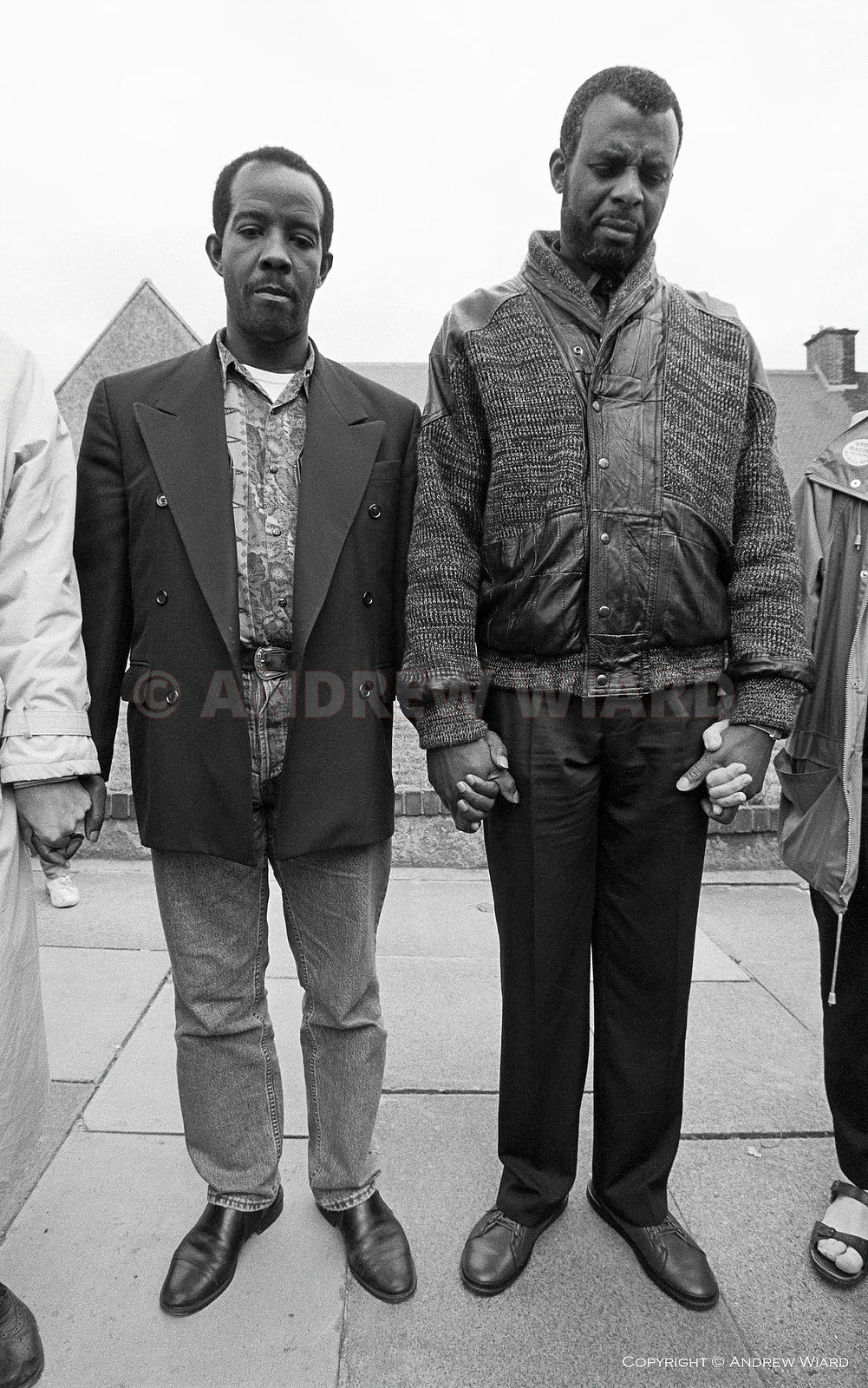 The fathers of Rolan Adams ( left ) and Stephen Lawrence, both murdered by white racists, take part in anti-racist vigil. Elt...
