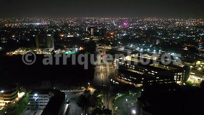 Accra by night from above, drone video