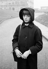 #83617,  Schoolgirl in the morning  mist, Whitworth Comprehensive School, Whitworth, Lancashire.  1970.  Shot for the book, '...