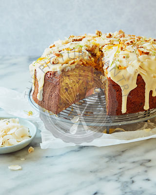 Carrot and Mango Cake with Drip Icing