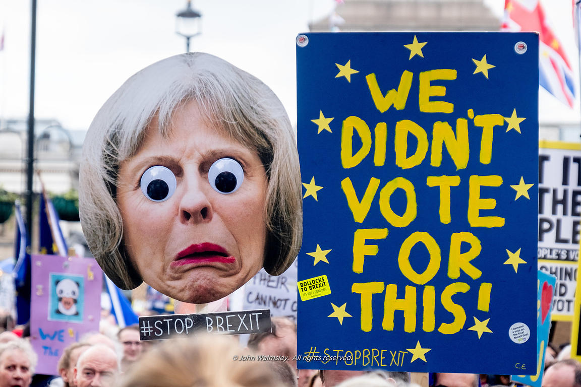 #124540,  Caricature of Theresa May, Prime Minister, at the anti-Brexit march to Parliament Square, London, 23rd March 2019. ...