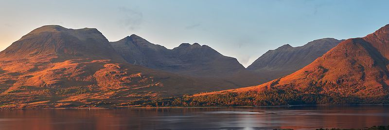 Image - Beinn Alligin across Upper Loch Torridon, Torridon, Wester Ross, Highland, Scotland.  Panorama