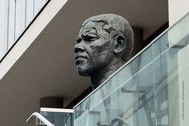 #121874,  Sculpture of Nelson Mandela by Ian Walters, Southbank, London.  One of two Ian Walters made, the other, a full leng...