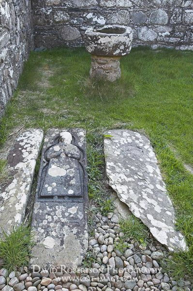Image - Grave-slabs and stone font in Kilchiran Chapel, Islay, Scotland