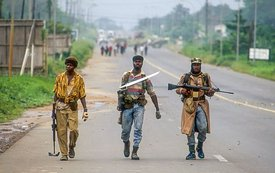 NPFL Rebels Patrolling During Civil War in Liberia