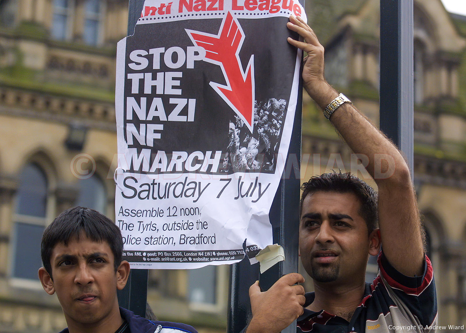 England , UK . 7.7.2001, Bradford . National Front  demonstration confronted by an Anti Nazi League and anti racists, followe...