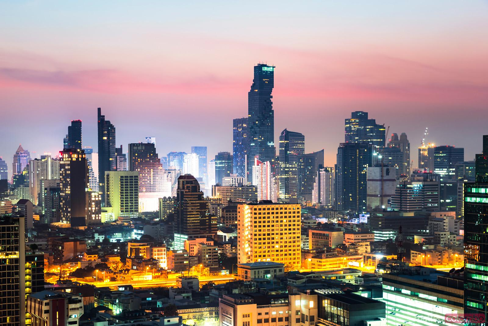 City skyline at sunrise, Bangkok, Thailand