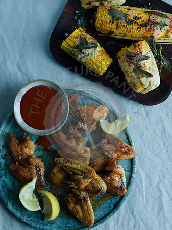 Chicken Wings and Grilled Corn