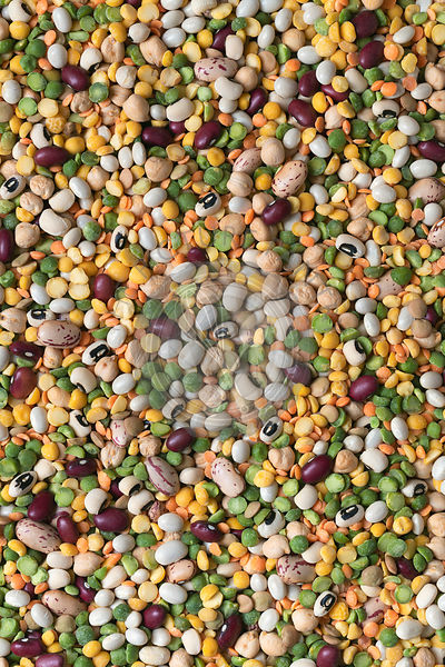 Background of split peas, lentils and dried beans.
