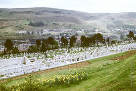 #012512,  Bryntaf Cemetery, Aberfan, Glamorgan, South Wales, 1975.  The Aberfan disaster happened on 21st October 1966 when a...