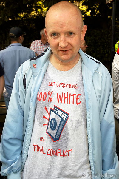 National Front supporter during an anti muslim march