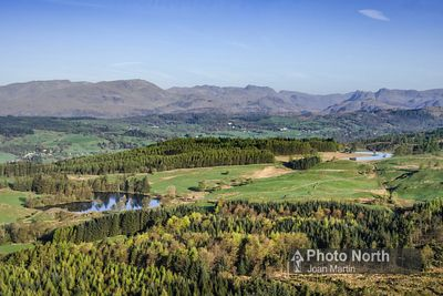 NEAR SAWREY 24A - Aerial view of Moss Eccles and Wise Een Tarns