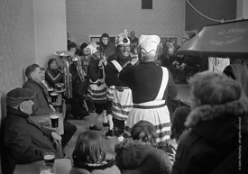 #77120,  The 'Nutters' Dance', Bacup, Lancashire,  1973.  On Easter Saturday every year the 'Coconut Dancers' gather at one b...