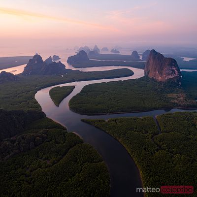 Aerial view of river at sunset, Phang Nga bay, Thailand