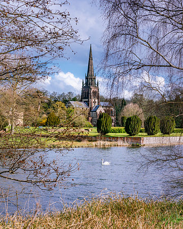 Clumber Park lake and church