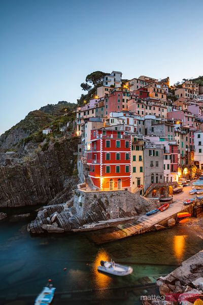 Night at the fishing village, Cinque Terre, Liguria, Italy