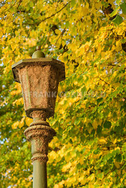 A rustic streetlamp against trees with autumnal colored leaves.
