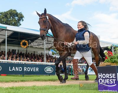 Hannah-Sue Burnett and HARBOUR PILOT at the trot up, Land Rover Burghley Horse Trials 2019