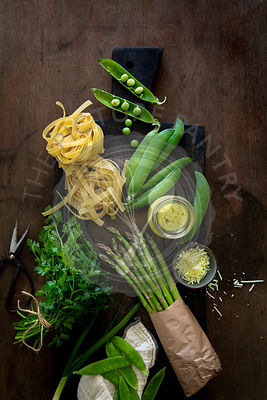 Ingredients for Pasta Primavera with copy space
