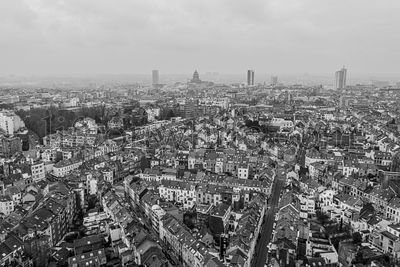 Brussels, Belgium,  January 3, 2021: panorama view from above, Basilica of Koekelberg on the background