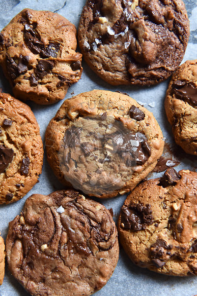 Choc chip cookies on greaseproof paper