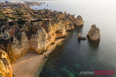 Aerial view of the coastline of Algarve, Portugal