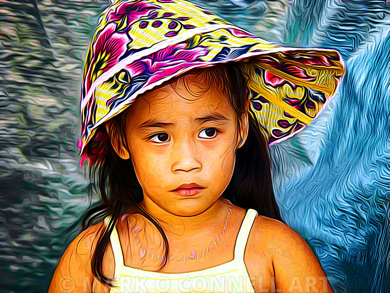 art,painting,airbrush,girl,filipino,philippines,child,hat,intense