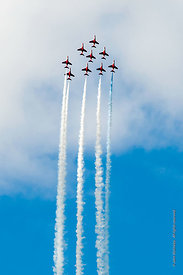 #052351,  RAF's Red Arrows display team at the Farnborough International Airshow.  2009.