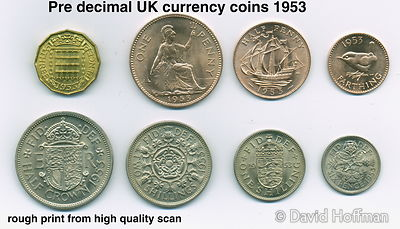 A complete set of British pre-decimalisation coins showing their 'tails' side..In old British money one pound was 20 shilling...