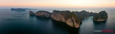 Aerial panoramic of Ko Phi Phi Leh island at sunset, Thailand