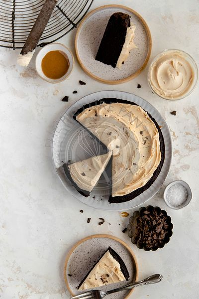 Cashew butter frosting and chocolate cake