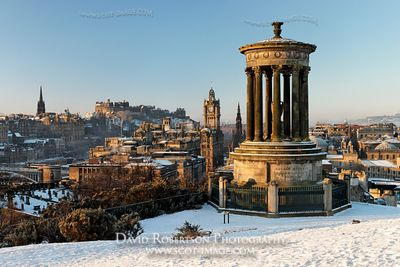 Image - The Dugald Stewart Monument on Calton Hill and Edinburgh Castle, Scotland