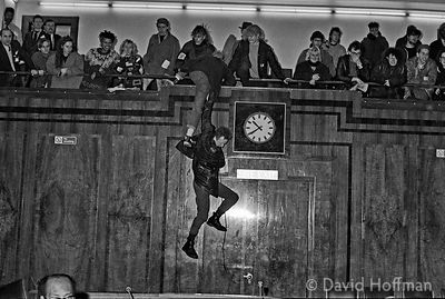 YM35-30-1 Housing activists and squatters storm the Hackney Town Hall council chamber during a council meeting.Early 1988