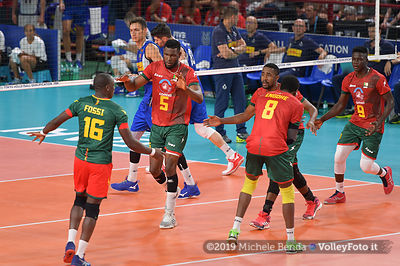 Cameroon, celebrates a point