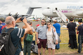 #120889,  Visitors taking a selfie with the Airbus A380 at the Farnborough Air Show, 2016.