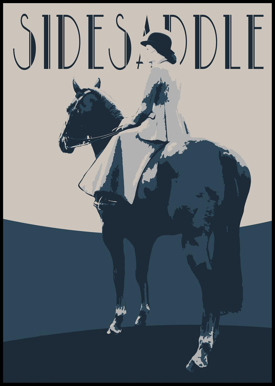 Sidesaddle Retro Vintage Inspired Graphic Design Print