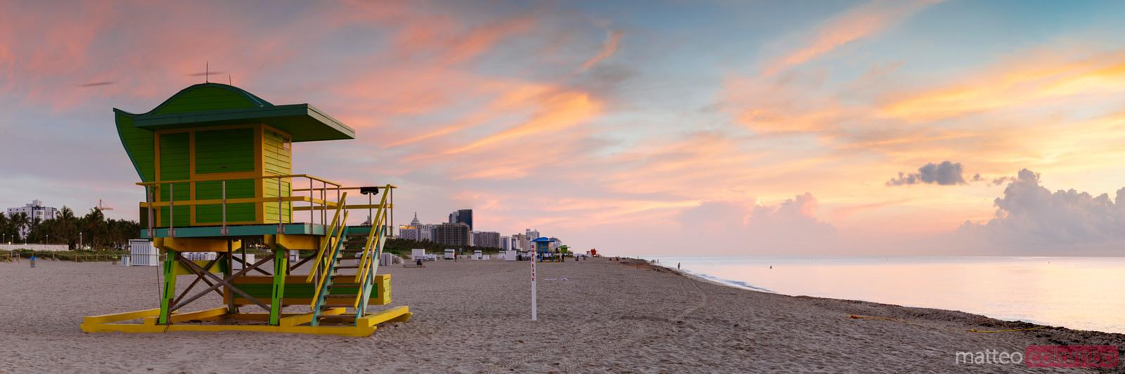 Panoramic of South beach at sunrise, Miami, Florida, USA
