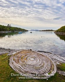Prints & Stock Image - Coiled rope on the shore near Glenuig, Moidart, Lochaber, Highland, Scotland.