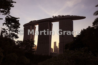 Marina Bay Sands from Gardens By The Bay at dusk, Singapore, Southeast Asia